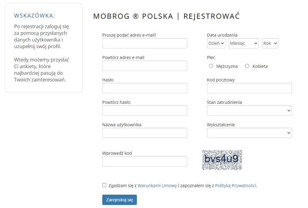 MOBROG.com - Rejestracja