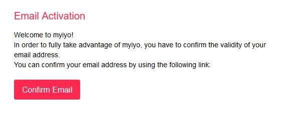 MyIyo akiety potwierdzenie maila