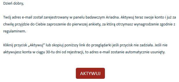 Panel Ariadna logowanie - Potwierdzenie adresu email